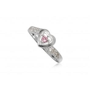 Szív alakú ezüst gyűrű rózsaszín cirkónia kristállyal