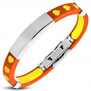 Szívecske mintás kaucsuk karkötő, gravírozható nemesacél dísszel - Narancssárga