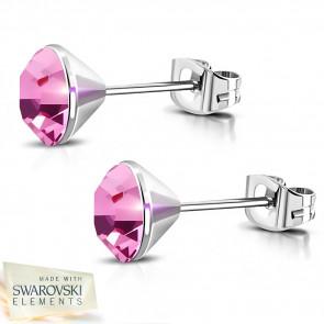Ezüst színű nemesacél fülbevaló, rózsaszín Swarovski kristállyal - 4 mm