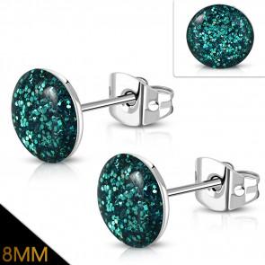 Zöldes kék színű, kristály mintás nemesacél fülbevaló