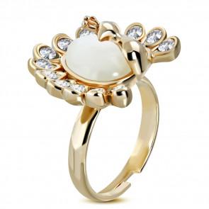Szív alakú divat gyűrű, macskaszem kővel