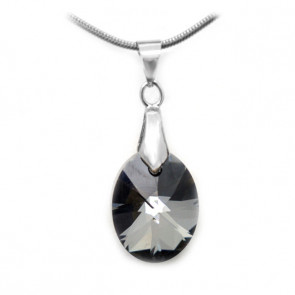 Swarovski® kristályos nemesacél nyaklánc - 18 mm - Oval - Silver Night