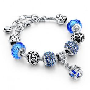 Pandora stílusú korona kristályos karkötő - Sötét kék