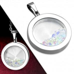 Ezüst színű, kör alakú nemesacél medál, színes kristályokkal