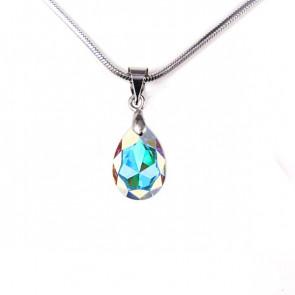 Swarovski® kristályos nemesacél nyaklánc - 12 mm - Kis Körte - Crystal AB