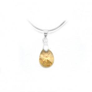 Swarovski® kristályos nemesacél nyaklánc - 12 mm - Pear - Golden Shadow