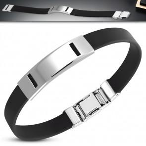 Fekete kaucsuk karkötő, ezüst színű lézer vágott mintával