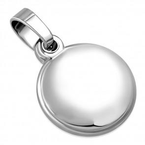 Ezüst színű, kör alakú gravírozható  nemesacél medál