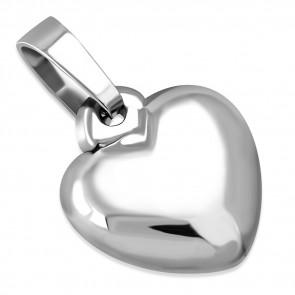 Ezüst színű, szív alakú gravírozható  nemesacél medál