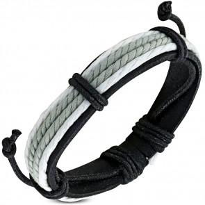Fekete és szürke bőr karkötő