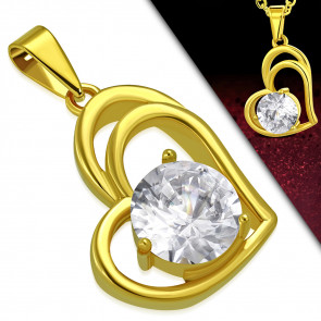 Arany színű,  dupla szív alakú nemesacél medál, cirkónia kristállyal