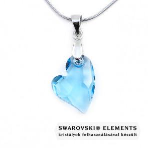 Swarovski® világos kék kristályos nemesacél nyaklánc - 17 mm - Ferde szív - Aquamarine