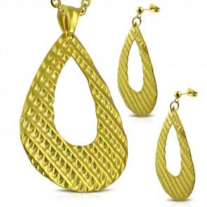 Arany színű nemesacél szett, könnycsepp alakú medállal és fülbevalóval