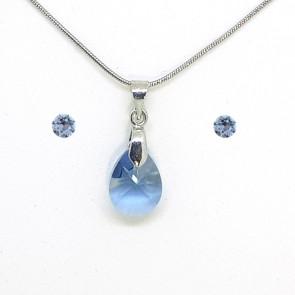 Swarovski kristályos ékszerszett - Pear 12 mm, Denim Blue