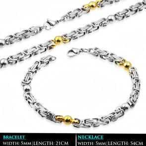 Arany és ezüst színű bizánci nemesacél nyaklánc - karlánc szett