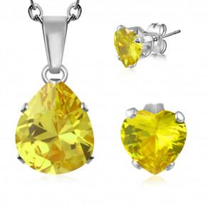 Nemesacél ékszerszett, sárga, csepp alakú cirkónia kristállyal - nyaklánc és fülbevaló