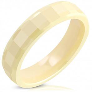 Sárga színű kerámia gyűrű, négyszögre csiszolt mintával-11.5