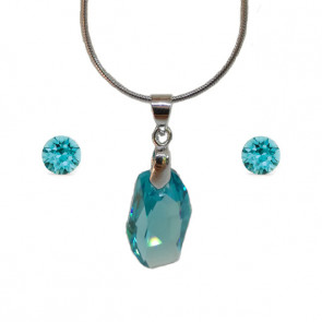 Swarovski kristályos ékszerszett  - Meteor 18 mm, Light Turquoise