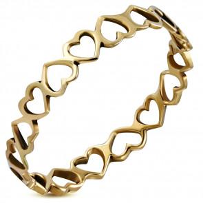 Bronz színű divat gyűrű, szív formájú mintával