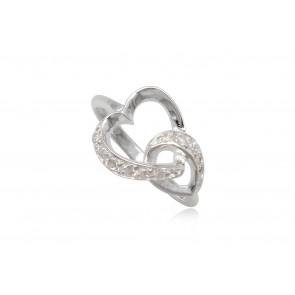 Szív alakú ezüst gyűrű fehér cirkónia kristállyal