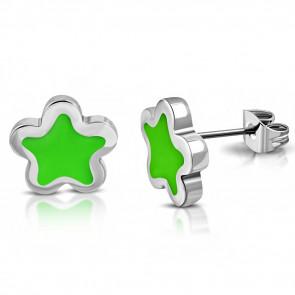 Ezüst színű, csillag alakú nemesacél fülbevaló, zöld színű dísszel