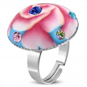 Kör alakú, pink virág mintás állítható nemesacél gyűrű ékszer cirkónia kristállyal