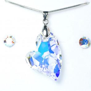 Swarovski kristályos ékszerszett - Ferde szív Crystal AB