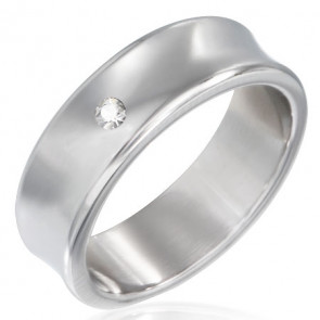 Ezüst színű, homorú nemesacél gyűrű ékszer, cirkónia kristállyal-9