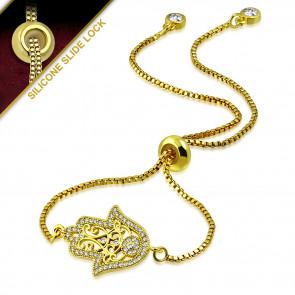 Arany színű karkötő, kéz alakú dísszel, cirkónia kristállyal