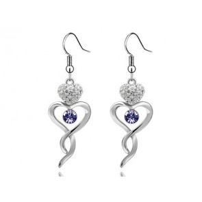 Swarovski kristályos fülbevaló Végtelen Szív lila kővel