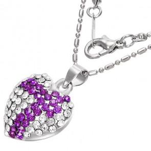 Szív alakú, lila kristállyal ékesített női nyaklánc
