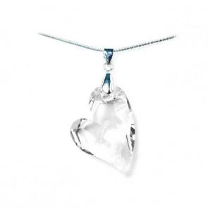 Swarovski® kristályos ezüst nyaklánc - 27 mm - Ferde szív - Crystal - 925 ezüst ékszer