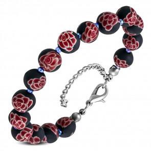Divatos fekete, rózsaszín virág mintás gyöngyös bizsu karkötő