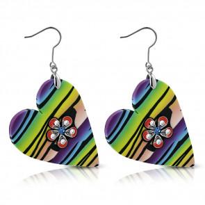 Szív alakú színes bizsu fülbevaló