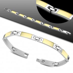 Gravírozható, ezüst és arany színű nemesacél karlánc