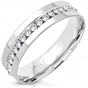QUEN - Ezüst színű nemesacél gyűrű ékszer,  cirkónia kristállyal