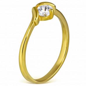 Arany színű nemesacél gyűrű cirkónia kristállyal-9