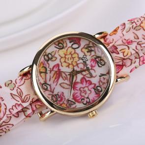 Divatos, nyárias karóra rózsaszín, virágos szövet szíjjal