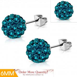 Írisz - Türkiz kék színű kristályos gömb alakú nemesacél fülbevaló ékszer