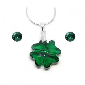 """Swarovski® kristályos ékszerszett """"Cancer"""" - Lóhere 19 mm, Emerald"""