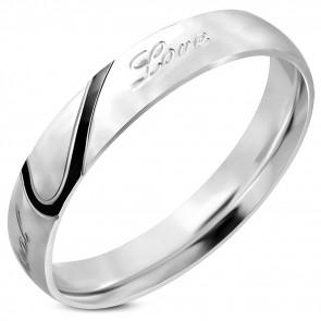 Love feliratú nemesacél gyűrű fekete díszcsíkkal-9