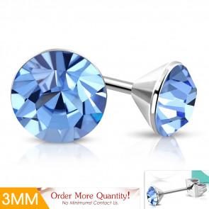 ULTRA Mini - világos kék  színű kristályos pont nemesacél fülbevaló ékszer