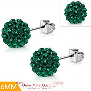 Gömb alakú Shamballa fülbevaló, sötét zöld cirkónia kristállyal