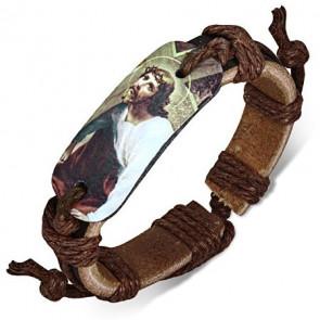Bőrkarkötő Krisztus medállal