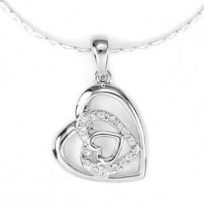 Swarovski kristályos nyaklánc Szívben szív medállal