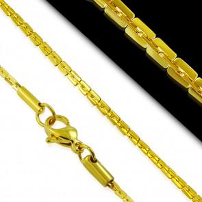 Arany színű nemesacél nyaklánc, téglalap alakú szemekkel