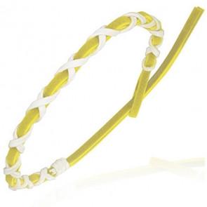 Sárga - fehér fonott karkötő