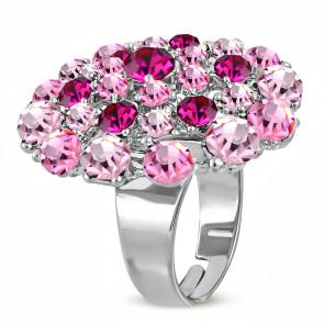 Kerek divat gyűrű,  rózsaszín cirkónia kristállyal