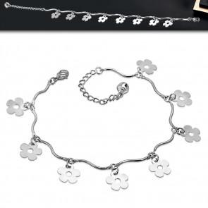 Ezüst színű bokalánc virág alakú dísszel