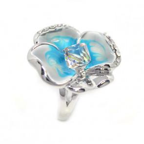 Kék árvácska Swarovski kristályos gyűrű, ezüst színű